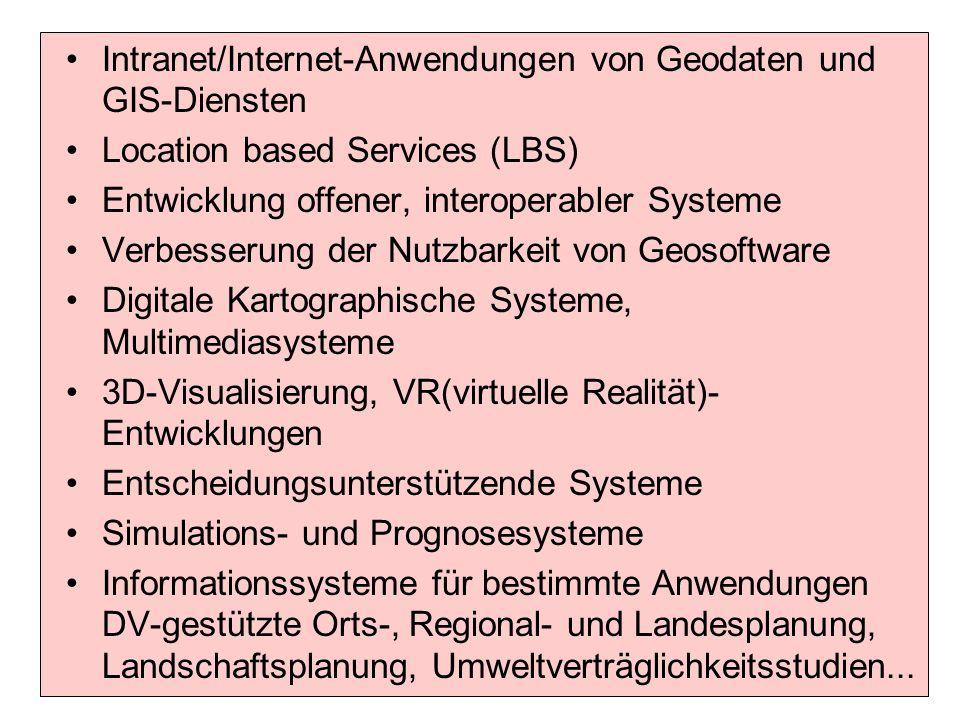 Intranet/Internet-Anwendungen von Geodaten und GIS-Diensten Location based Services (LBS) Entwicklung offener, interoperabler Systeme Verbesserung der