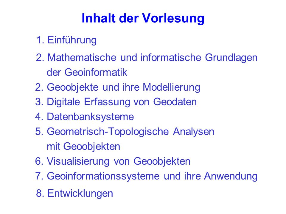 Inhalt der Vorlesung 1. Einführung 2. Mathematische und informatische Grundlagen der Geoinformatik 2. Geoobjekte und ihre Modellierung 3. Digitale Erf