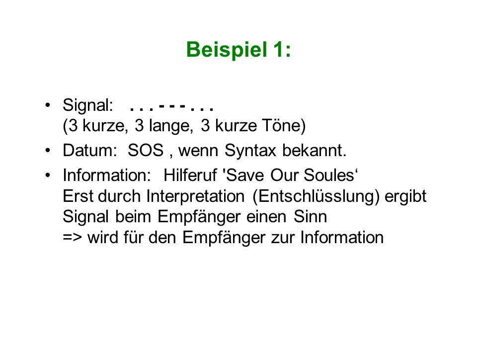 Beispiel 1: Signal:... - - -... (3 kurze, 3 lange, 3 kurze Töne) Datum: SOS, wenn Syntax bekannt. Information: Hilferuf 'Save Our Soules' Erst durch I