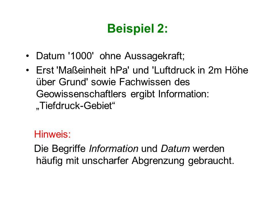Beispiel 2: Datum '1000' ohne Aussagekraft; Erst 'Maßeinheit hPa' und 'Luftdruck in 2m Höhe über Grund' sowie Fachwissen des Geowissenschaftlers ergib