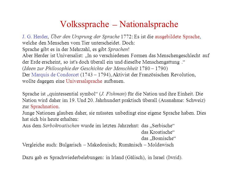 Volkssprache – Nationalsprache J.G.