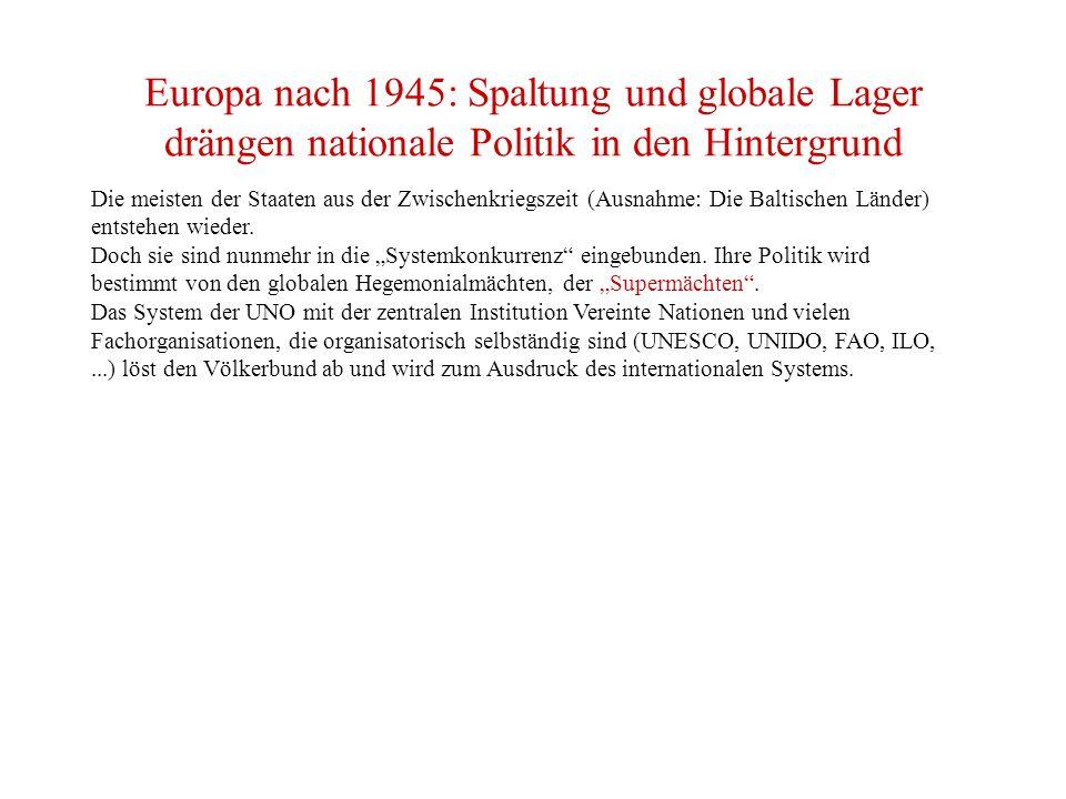 Europa nach 1945: Spaltung und globale Lager drängen nationale Politik in den Hintergrund Die meisten der Staaten aus der Zwischenkriegszeit (Ausnahme: Die Baltischen Länder) entstehen wieder.