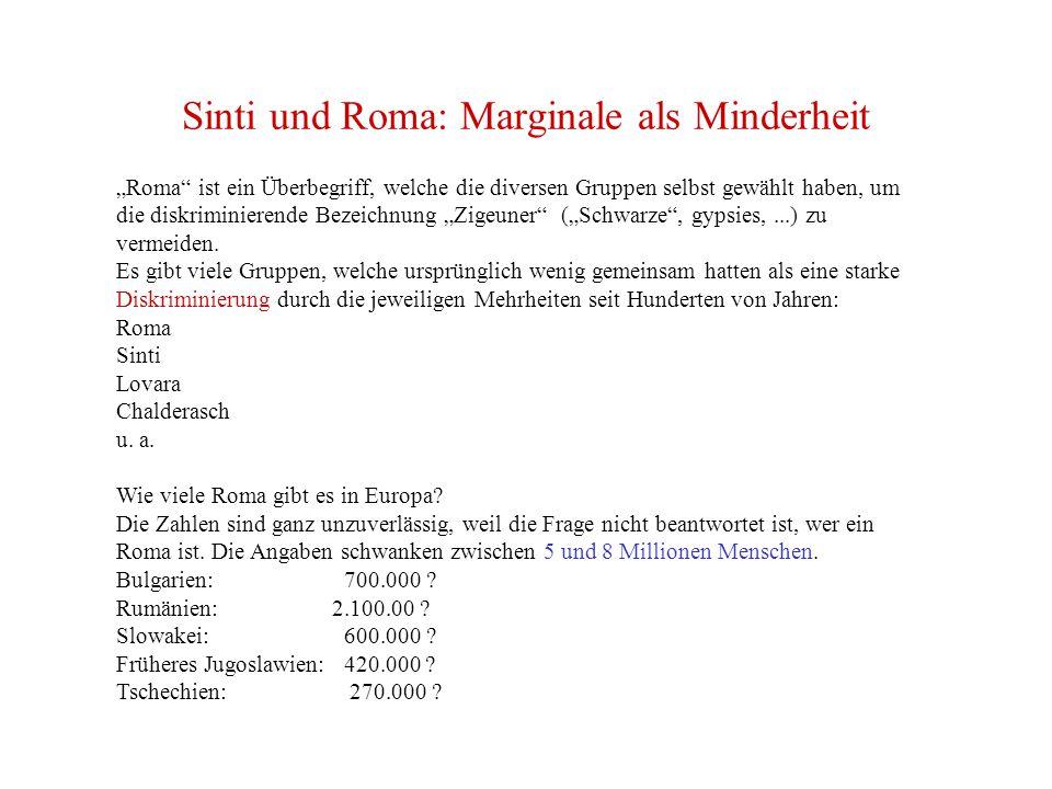 """Sinti und Roma: Marginale als Minderheit """"Roma ist ein Überbegriff, welche die diversen Gruppen selbst gewählt haben, um die diskriminierende Bezeichnung """"Zigeuner (""""Schwarze , gypsies,...) zu vermeiden."""