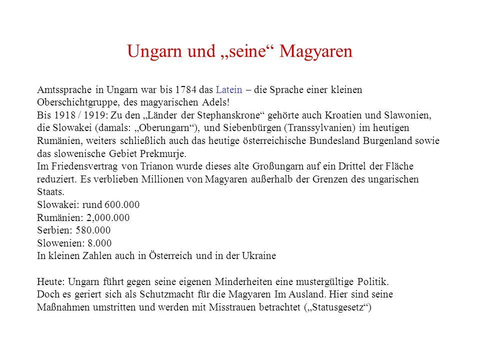"""Ungarn und """"seine Magyaren Amtssprache in Ungarn war bis 1784 das Latein – die Sprache einer kleinen Oberschichtgruppe, des magyarischen Adels."""