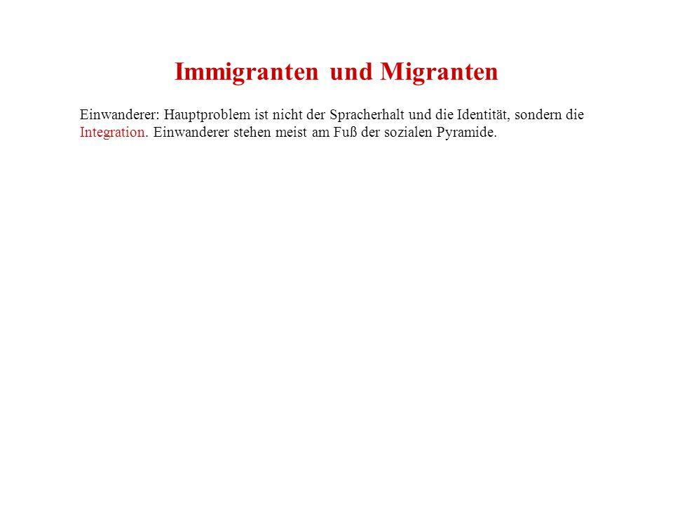 Immigranten und Migranten Einwanderer: Hauptproblem ist nicht der Spracherhalt und die Identität, sondern die Integration.