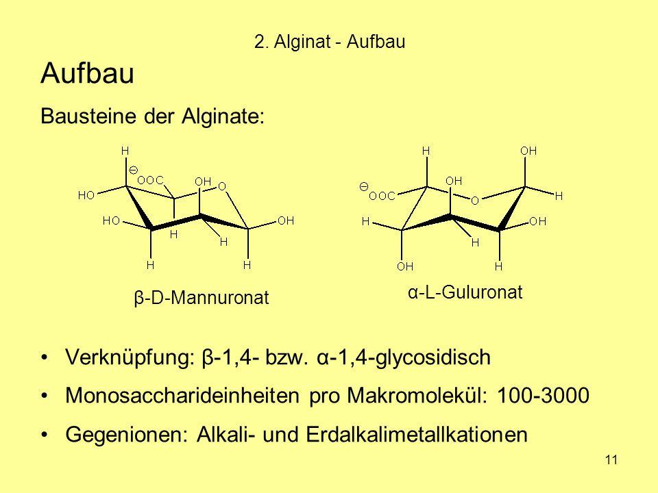 11 Aufbau Bausteine der Alginate: Verknüpfung: β-1,4- bzw. α-1,4-glycosidisch Monosaccharideinheiten pro Makromolekül: 100-3000 Gegenionen: Alkali- un