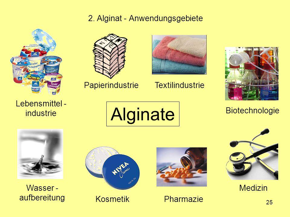25 2. Alginat - Anwendungsgebiete Alginate Lebensmittel - industrie PapierindustrieTextilindustrie Biotechnologie Medizin PharmazieKosmetik Wasser - a