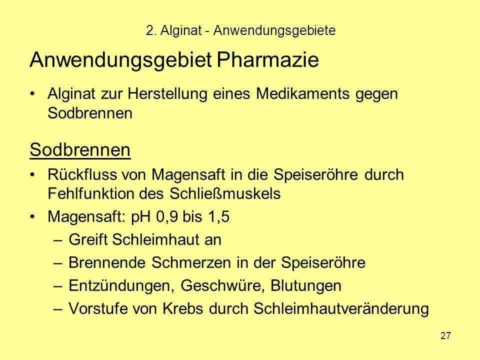 27 Anwendungsgebiet Pharmazie Alginat zur Herstellung eines Medikaments gegen Sodbrennen Sodbrennen Rückfluss von Magensaft in die Speiseröhre durch F