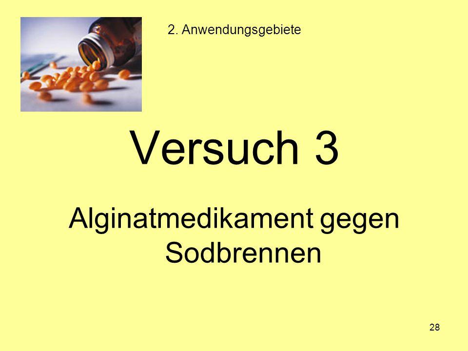 28 Versuch 3 Alginatmedikament gegen Sodbrennen 2. Anwendungsgebiete