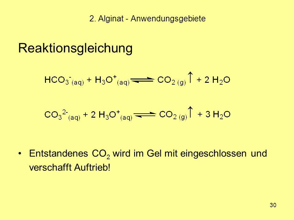30 Reaktionsgleichung Entstandenes CO 2 wird im Gel mit eingeschlossen und verschafft Auftrieb! 2. Alginat - Anwendungsgebiete ↑ ↑