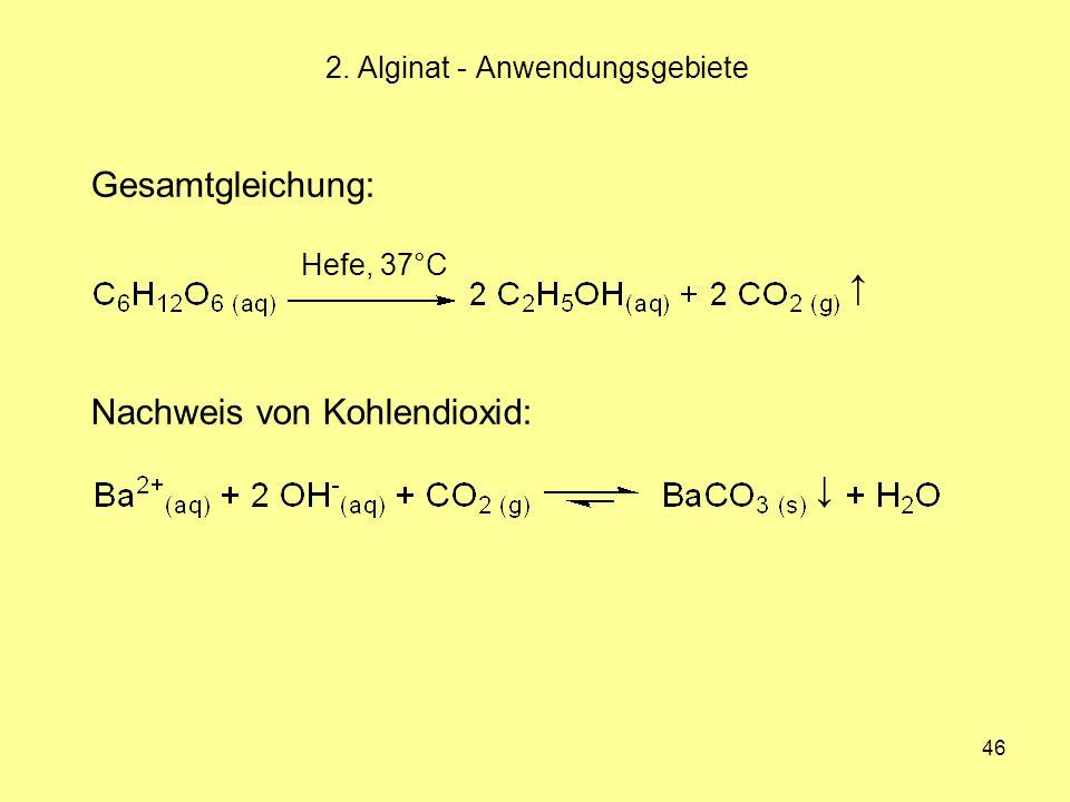 46 2. Alginat - Anwendungsgebiete Hefe, 37°C Gesamtgleichung: ↑ Nachweis von Kohlendioxid: ↓