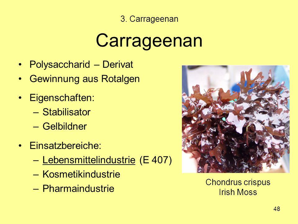 48 Carrageenan Polysaccharid – Derivat Gewinnung aus Rotalgen Eigenschaften: –Stabilisator –Gelbildner Einsatzbereiche: –Lebensmittelindustrie (E 407)