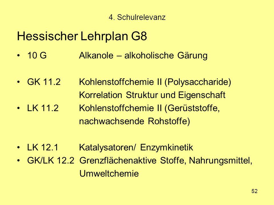 52 Hessischer Lehrplan G8 10 G Alkanole – alkoholische Gärung GK 11.2 Kohlenstoffchemie II (Polysaccharide) Korrelation Struktur und Eigenschaft LK 11