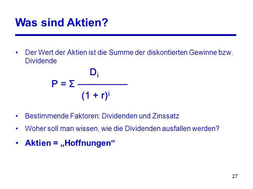 27 D i P = Σ ————— (1 + r) i Was sind Aktien.