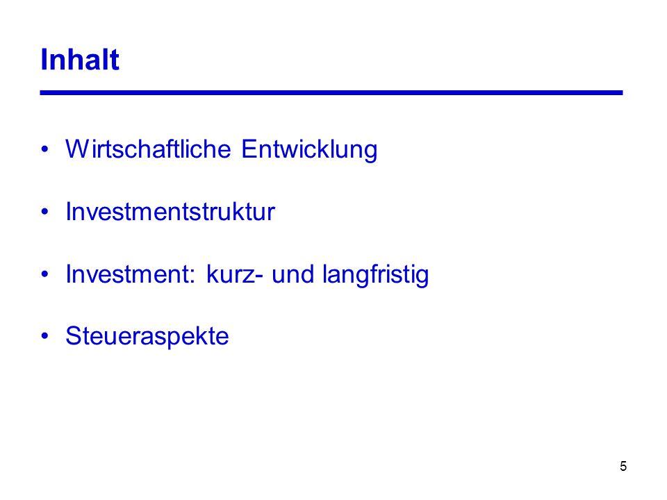 5 Inhalt Wirtschaftliche Entwicklung Investmentstruktur Investment: kurz- und langfristig Steueraspekte
