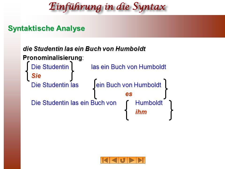 Syntaktische Analyse die Studentin las ein Buch von Humboldt Pronominalisierung: Die Studentinlas ein Buch von Humboldt Sie es ihm