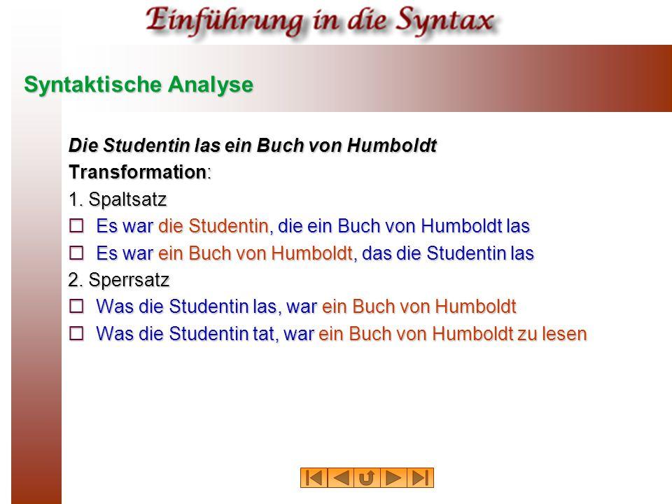 Syntaktische Analyse Die Studentin las ein Buch von Humboldt Transformation: 1.