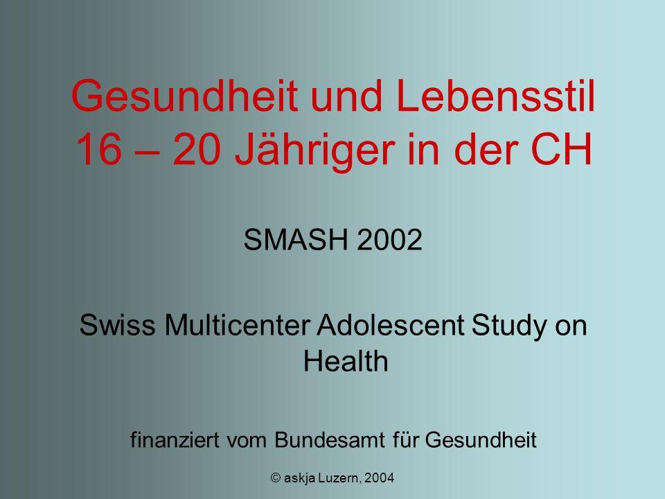 © askja Luzern, 2004 Gesundheit und Lebensstil 16 – 20 Jähriger in der CH SMASH 2002 Swiss Multicenter Adolescent Study on Health finanziert vom Bundesamt für Gesundheit