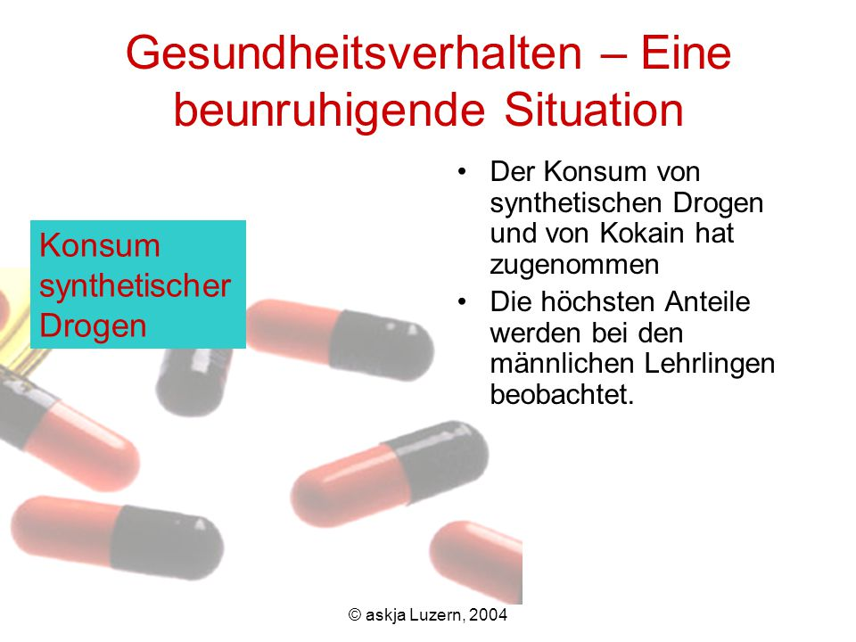 © askja Luzern, 2004 Gesundheitsverhalten – Eine beunruhigende Situation Der Konsum von synthetischen Drogen und von Kokain hat zugenommen Die höchsten Anteile werden bei den männlichen Lehrlingen beobachtet.