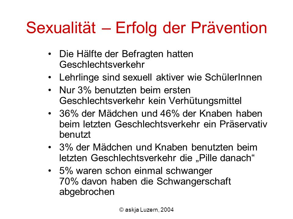 """© askja Luzern, 2004 Sexualität – Erfolg der Prävention Die Hälfte der Befragten hatten Geschlechtsverkehr Lehrlinge sind sexuell aktiver wie SchülerInnen Nur 3% benutzten beim ersten Geschlechtsverkehr kein Verhütungsmittel 36% der Mädchen und 46% der Knaben haben beim letzten Geschlechtsverkehr ein Präservativ benutzt 3% der Mädchen und Knaben benutzten beim letzten Geschlechtsverkehr die """"Pille danach 5% waren schon einmal schwanger 70% davon haben die Schwangerschaft abgebrochen"""