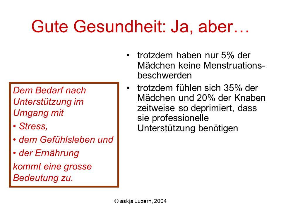© askja Luzern, 2004 Gute Gesundheit: Ja, aber… Dem Bedarf nach Unterstützung im Umgang mit Stress, dem Gefühlsleben und der Ernährung kommt eine grosse Bedeutung zu.