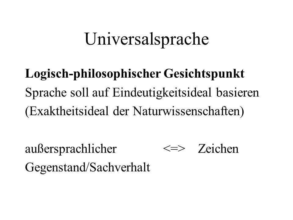 Universalsprache Logisch-philosophischer Gesichtspunkt Sprache soll auf Eindeutigkeitsideal basieren (Exaktheitsideal der Naturwissenschaften) außersp