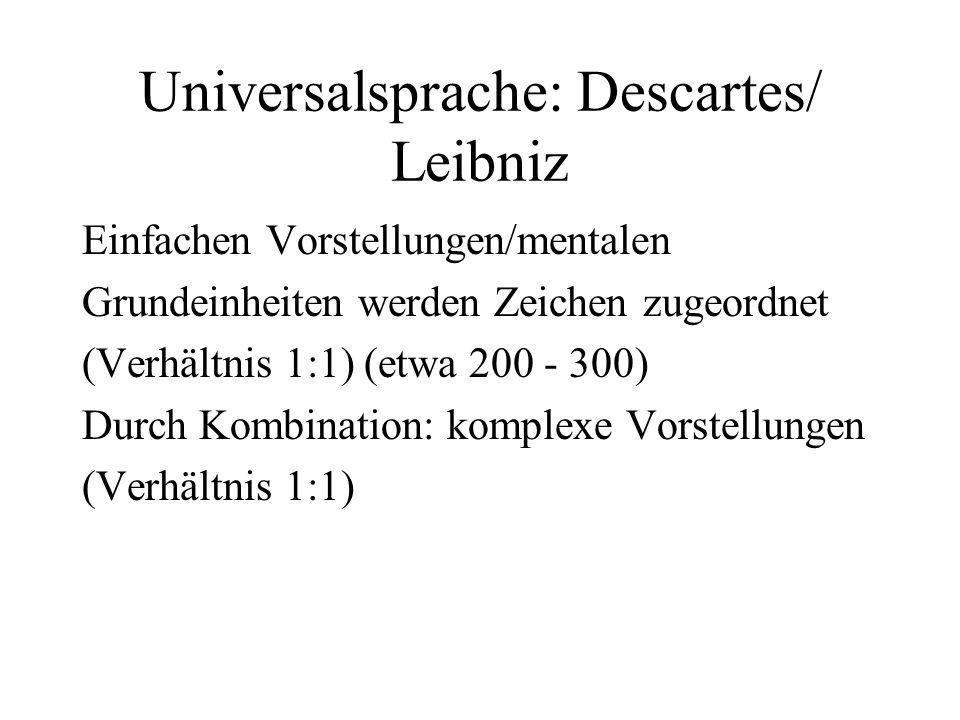 Universalsprache: Descartes/ Leibniz Einfachen Vorstellungen/mentalen Grundeinheiten werden Zeichen zugeordnet (Verhältnis 1:1) (etwa 200 - 300) Durch
