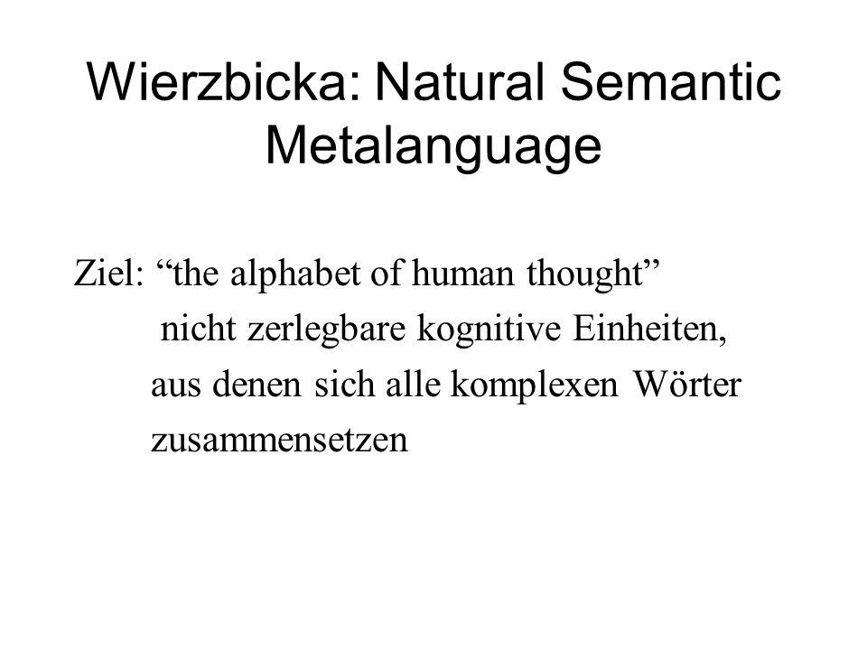 """Wierzbicka: Natural Semantic Metalanguage Ziel: """"the alphabet of human thought"""" nicht zerlegbare kognitive Einheiten, aus denen sich alle komplexen Wö"""