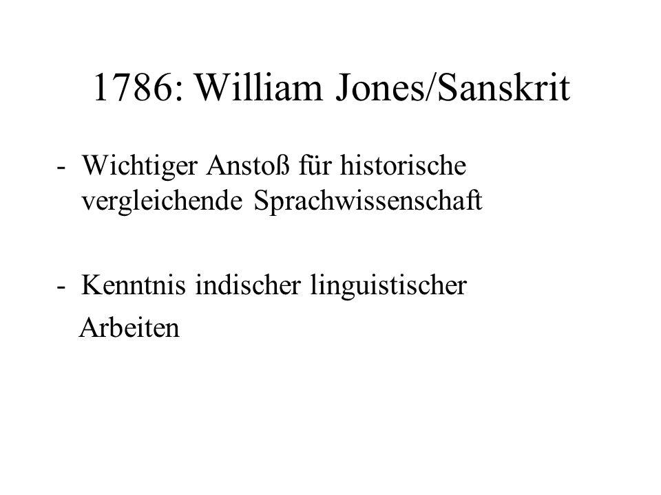 1786: William Jones/Sanskrit -Wichtiger Anstoß für historische vergleichende Sprachwissenschaft -Kenntnis indischer linguistischer Arbeiten