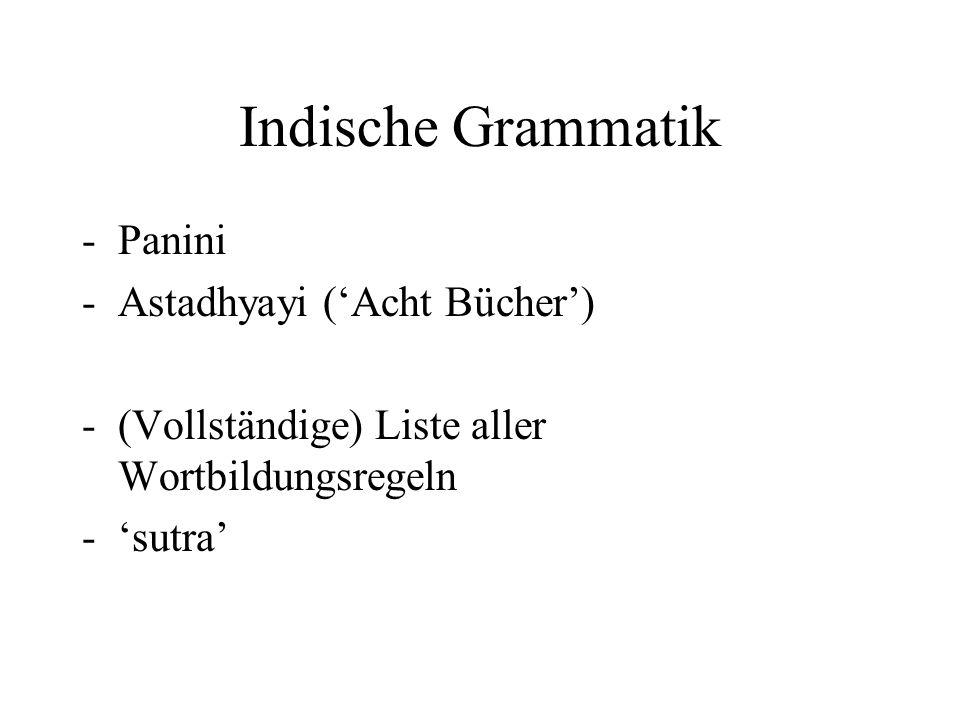 Indische Grammatik -Panini -Astadhyayi ('Acht Bücher') -(Vollständige) Liste aller Wortbildungsregeln -'sutra'