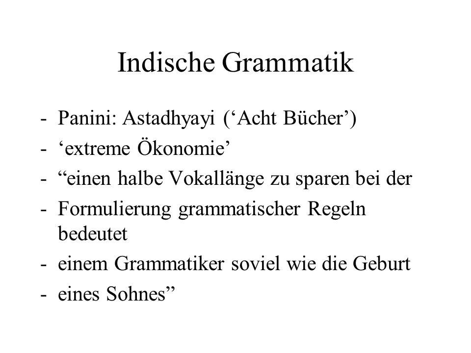 """Indische Grammatik -Panini: Astadhyayi ('Acht Bücher') -'extreme Ökonomie' -""""einen halbe Vokallänge zu sparen bei der -Formulierung grammatischer Rege"""