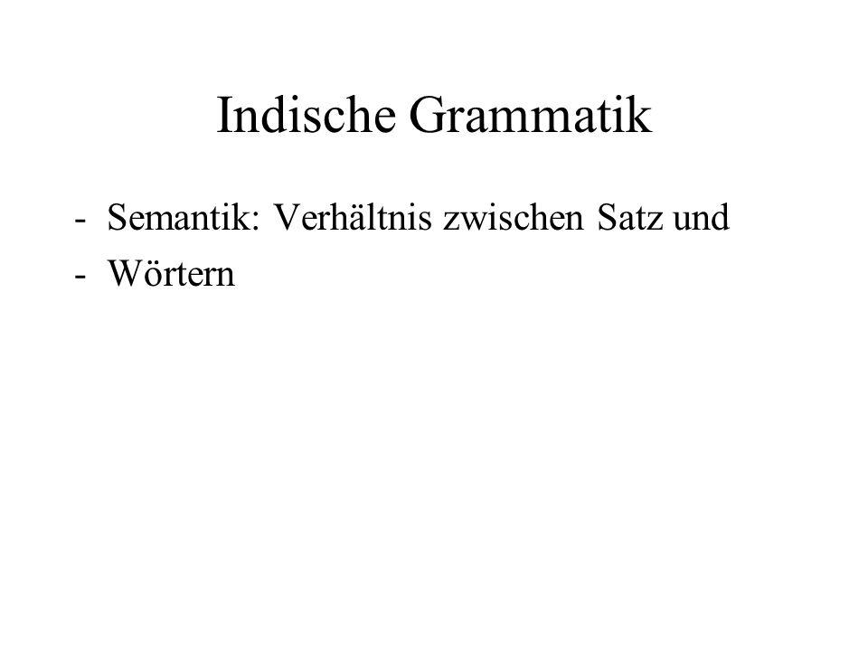 Indische Grammatik -Semantik: Verhältnis zwischen Satz und -Wörtern