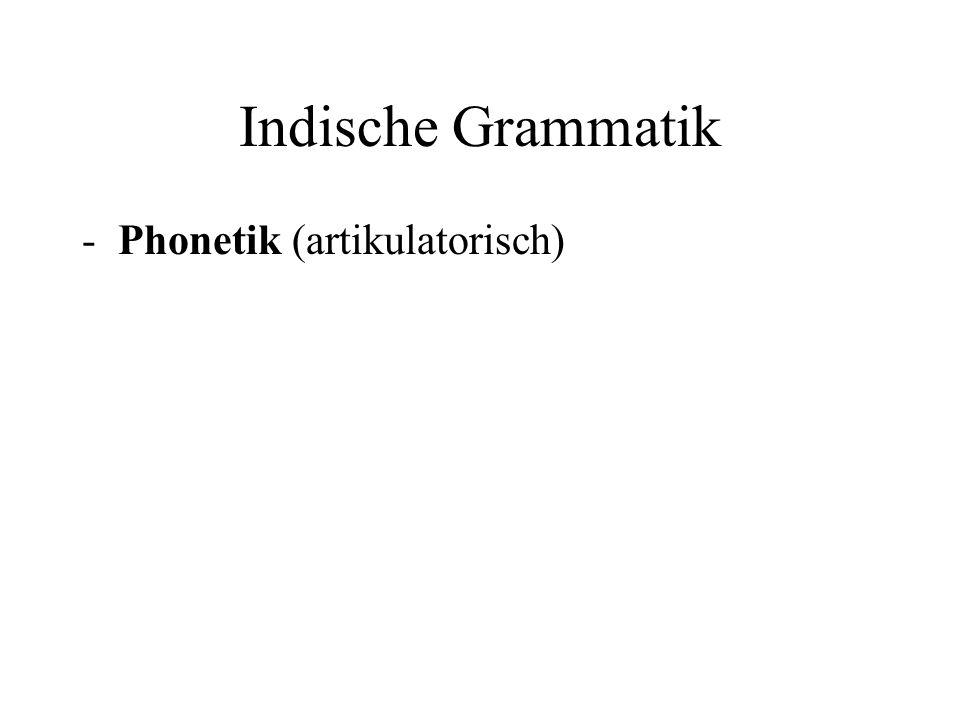 Indische Grammatik -Phonetik (artikulatorisch)