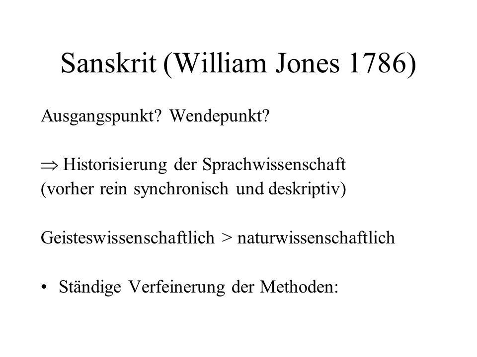 Sanskrit (William Jones 1786) Ausgangspunkt? Wendepunkt?  Historisierung der Sprachwissenschaft (vorher rein synchronisch und deskriptiv) Geisteswiss