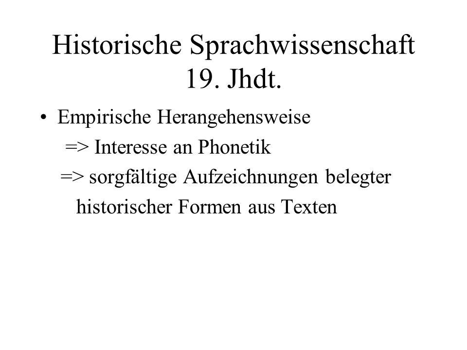 Historische Sprachwissenschaft 19. Jhdt. Empirische Herangehensweise => Interesse an Phonetik => sorgfältige Aufzeichnungen belegter historischer Form