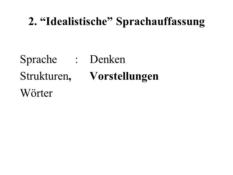 """2. """"Idealistische"""" Sprachauffassung Sprache : Denken Strukturen, Vorstellungen Wörter"""