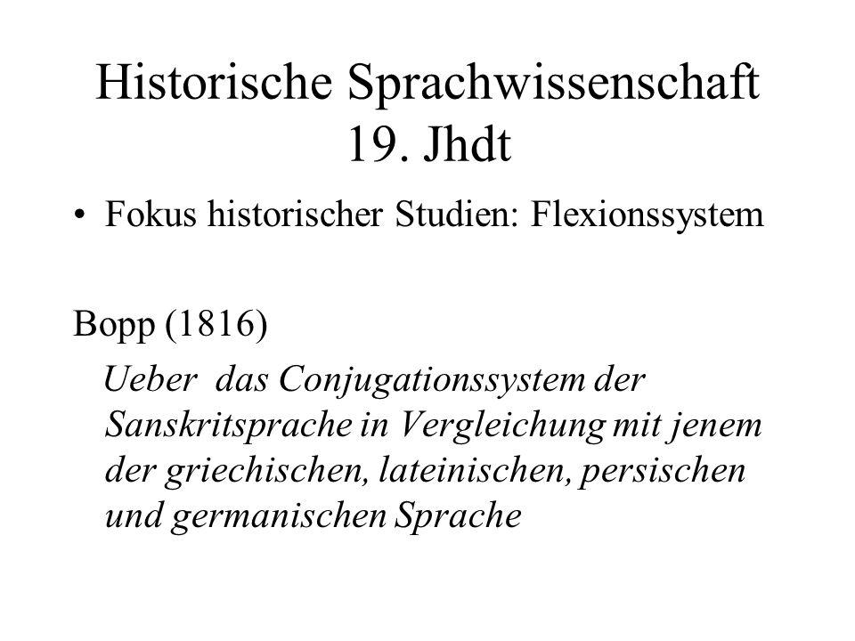 Historische Sprachwissenschaft 19. Jhdt Fokus historischer Studien: Flexionssystem Bopp (1816) Ueber das Conjugationssystem der Sanskritsprache in Ver