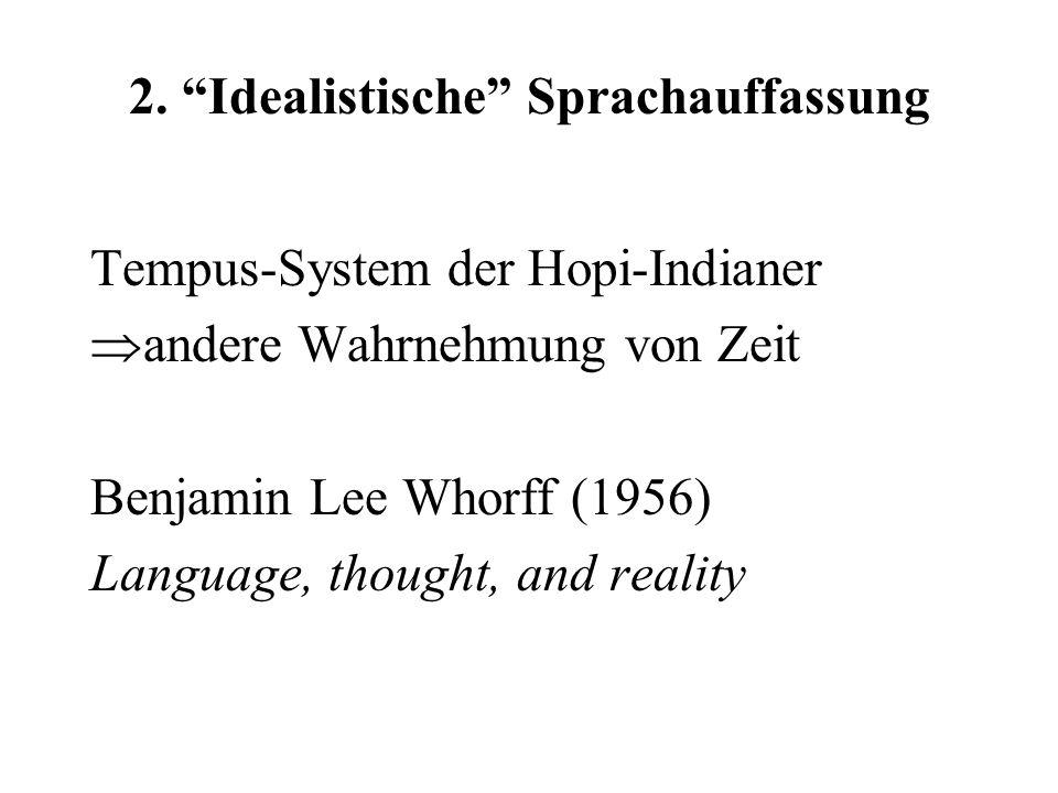 """2. """"Idealistische"""" Sprachauffassung Tempus-System der Hopi-Indianer  andere Wahrnehmung von Zeit Benjamin Lee Whorff (1956) Language, thought, and re"""