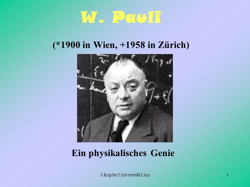 J.Kepler Universität Linz1 W. Pauli (*1900 in Wien, +1958 in Zürich) Ein physikalisches Genie