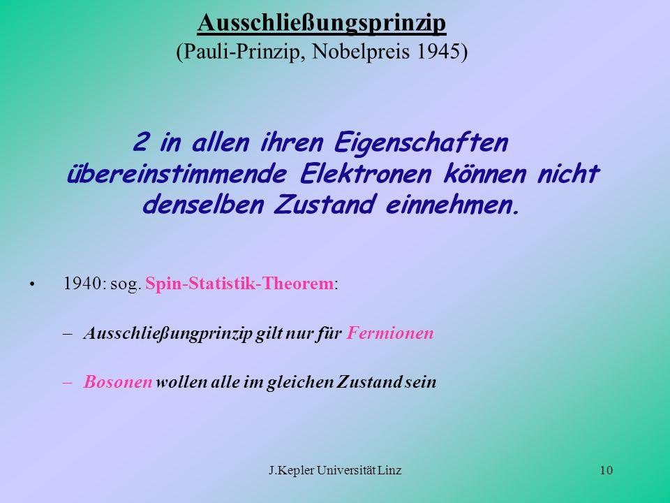J.Kepler Universität Linz10 Ausschließungsprinzip (Pauli-Prinzip, Nobelpreis 1945) 2 in allen ihren Eigenschaften übereinstimmende Elektronen können n