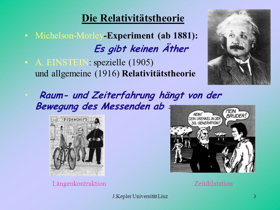 J.Kepler Universität Linz3 Die Relativitätstheorie Michelson-Morley-Experiment (ab 1881): Es gibt keinen Äther A. EINSTEIN: spezielle (1905) und allge