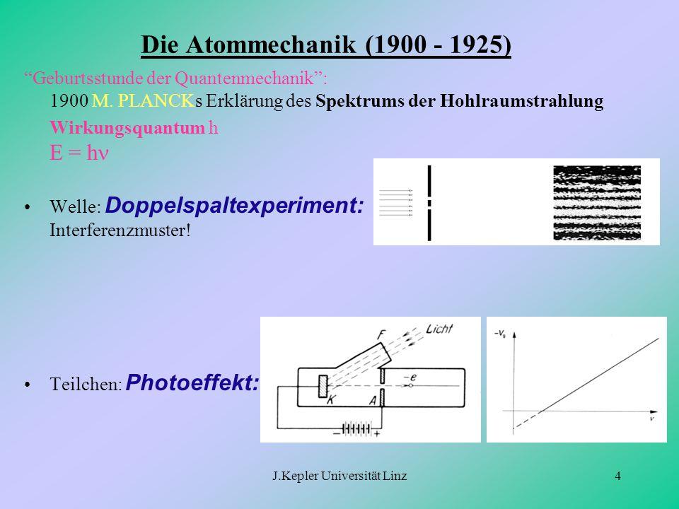 """J.Kepler Universität Linz4 Die Atommechanik (1900 - 1925) """"Geburtsstunde der Quantenmechanik"""": 1900 M. PLANCKs Erklärung des Spektrums der Hohlraumstr"""