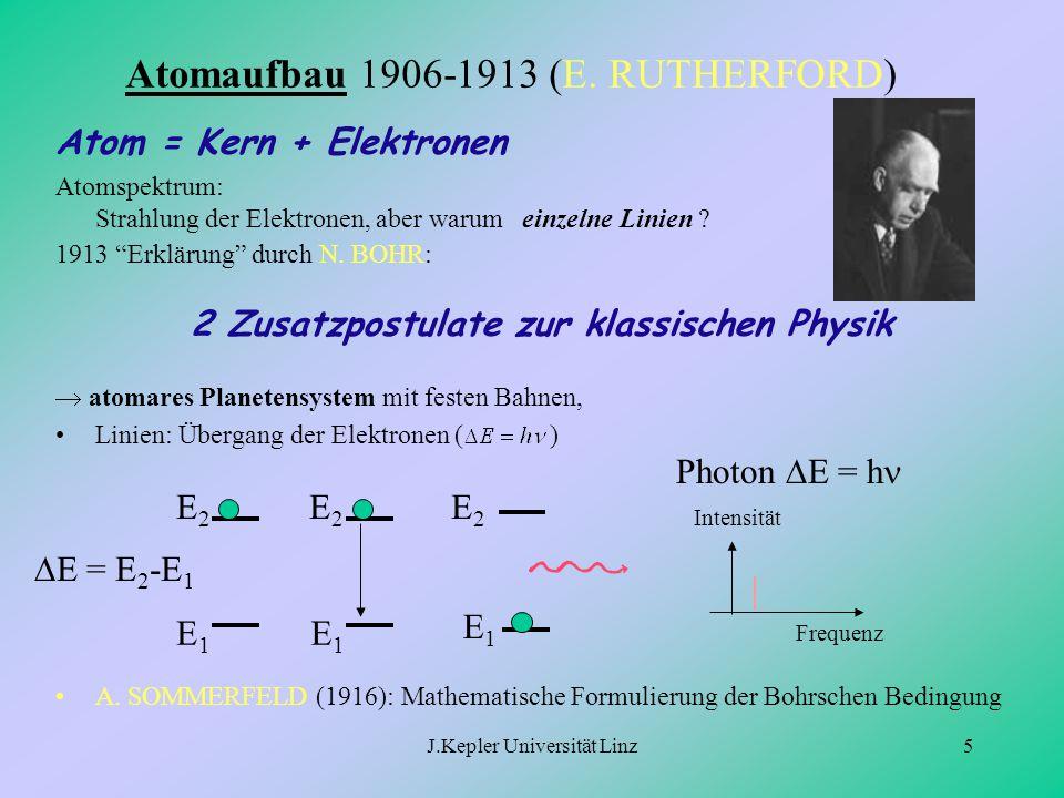 J.Kepler Universität Linz5 Atomaufbau 1906-1913 (E. RUTHERFORD) Atom = Kern + Elektronen Atomspektrum: Strahlung der Elektronen, aber warum einzelne L