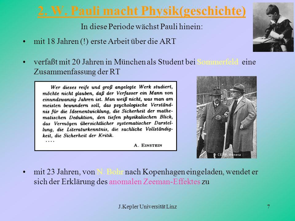 J.Kepler Universität Linz7 2. W. Pauli macht Physik(geschichte) In diese Periode wächst Pauli hinein: mit 18 Jahren (!) erste Arbeit über die ART verf