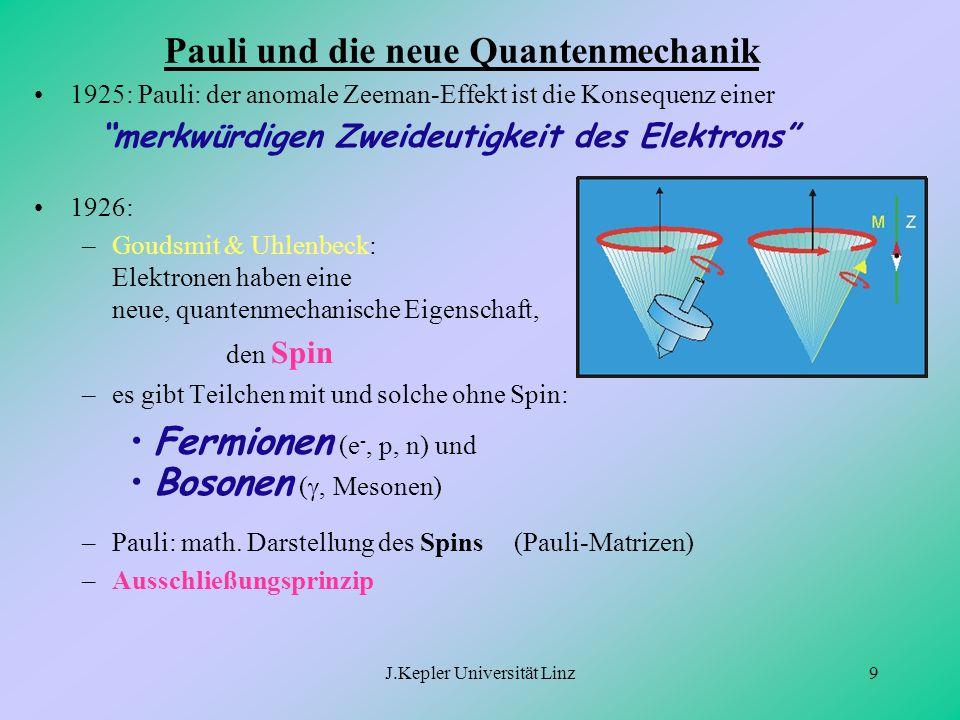 """J.Kepler Universität Linz9 Pauli und die neue Quantenmechanik 1925: Pauli: der anomale Zeeman-Effekt ist die Konsequenz einer """"merkwürdigen Zweideutig"""