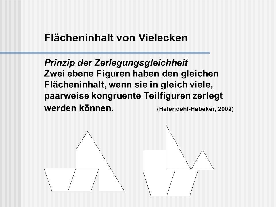 Flächeninhalt von Vielecken Prinzip der Zerlegungsgleichheit Zwei ebene Figuren haben den gleichen Flächeninhalt, wenn sie in gleich viele, paarweise