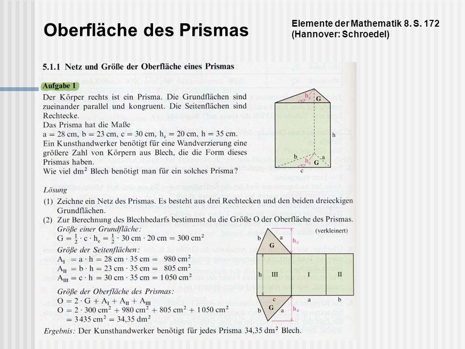 Oberfläche des Prismas Elemente der Mathematik 8. S. 172 (Hannover: Schroedel)