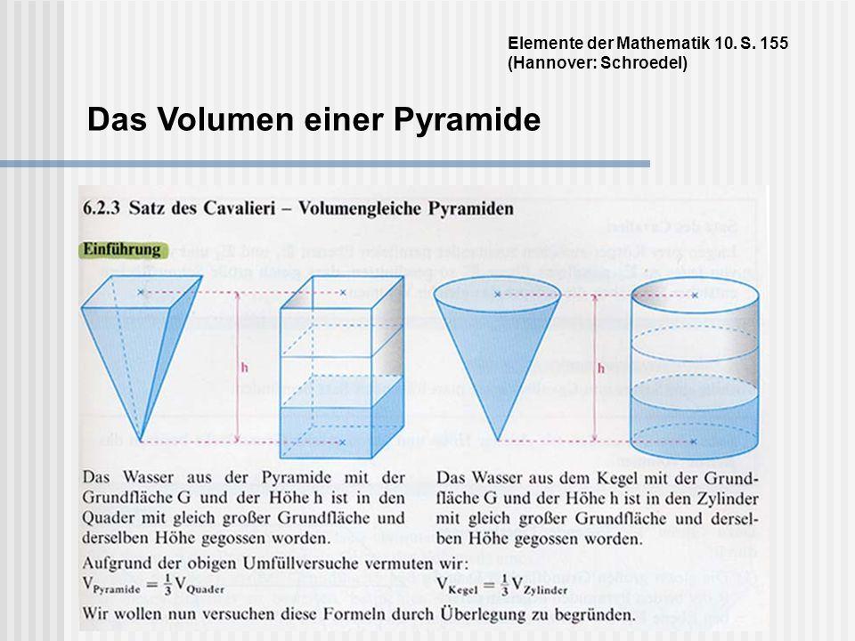 Das Volumen einer Pyramide Elemente der Mathematik 10. S. 155 (Hannover: Schroedel)
