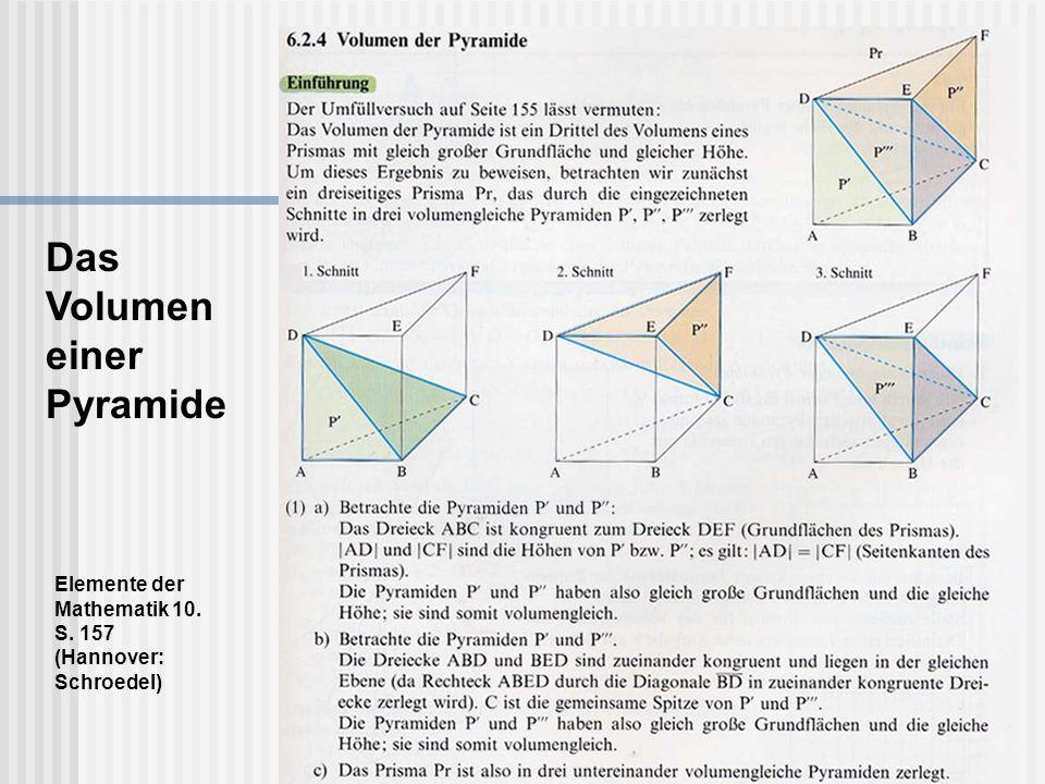 Elemente der Mathematik 10. S. 157 (Hannover: Schroedel) Das Volumen einer Pyramide
