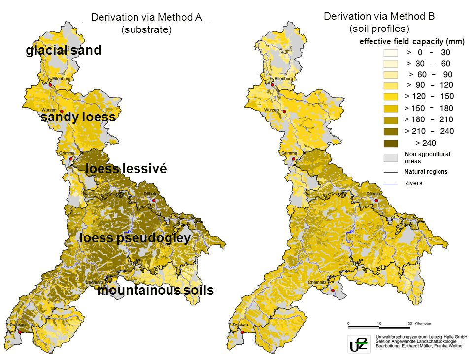 UFZ UMWELTFORSCHUNGSZENTRUM LEIPZIG-HALLE GmbH Alternative calculations Derivation via Method A (substrate) Derivation via Method B (soil profiles) effective field capacity (mm) – – – – – – – – Non-agricultural areas Natural regions Rivers loess lessivé loess pseudogley mountainous soils glacial sand sandy loess